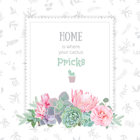 Green colorful succulents vector design square frame. Echeveria, protea, camellia, eucaliptus. Natural cactus card in modern funky style. All elements are isolated and editable.