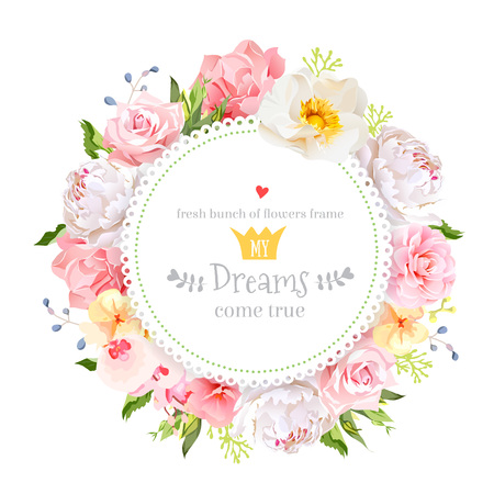 Peony, wild rose, orchid, carnation, camellia, hydrangea, blue berries and green leaves vector design round card. All elements are isolated and editable.