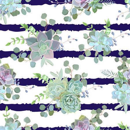 Green colorful succulent Echeveria seamless vector design print. Natural cactus pattern in modern funky style. Striped navy blue backdrop.