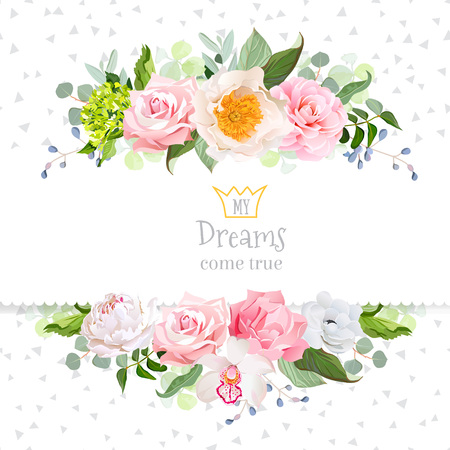 Stylish mix of flowers horizontal design frame.