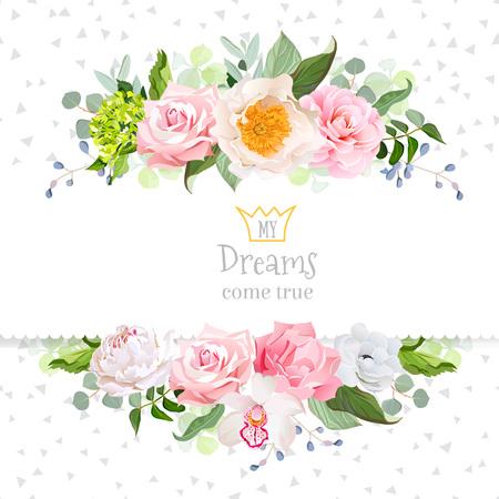 Stylish mix of flowers horizontal design frame. Stock Vector - 62690212