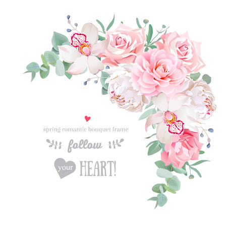 Delicate floral frame with peony, camellia, rose, orchid, carnation, mint eucaliptus on white.
