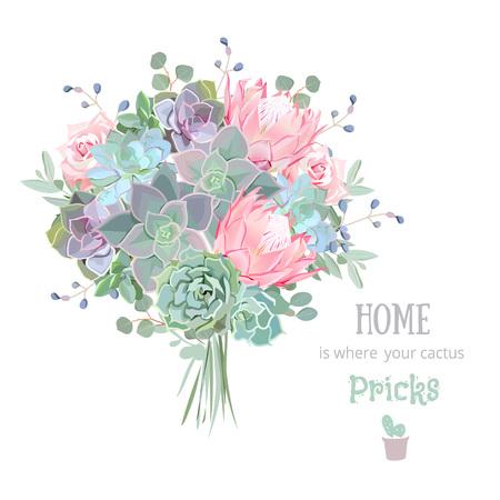 Ensemble de plantes succulentes colorées vertes. Echeveria, protea, eucalyptus. Bouquet dans un style funky moderne. Vecteurs