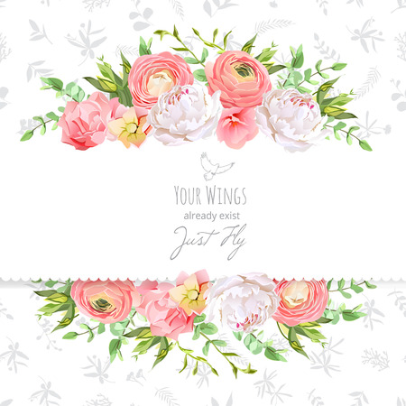 Bright ranunculus, peony, rose, carnation, green plants horizontal design frame. Delicate grey floral texture background