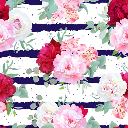 Navy blue striped floral seamless print with peony, alstroemeria lily, mint eucaliptus on white. Pink, white and burgundy red flowers. Dotted background.