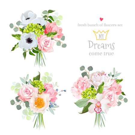 anemone: Surprise bouquets of rose, peony, anemone, hydrangea, carnation, orchid and eucalyptus leaves. Illustration