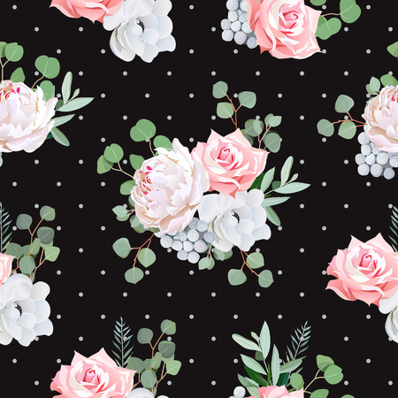 peony black: Black pattern with bouquets of rose, peony, anemone, brunia flowers and eucaliptis leaves.