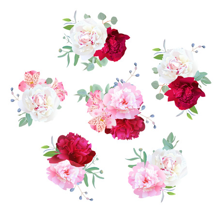 Small wedding floral bouquets of peony, alstroemeria lily, mint eucaliptus. Pink, white and burgundy red flowers.