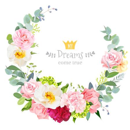 Cute wedding floral design round frame. Vectores