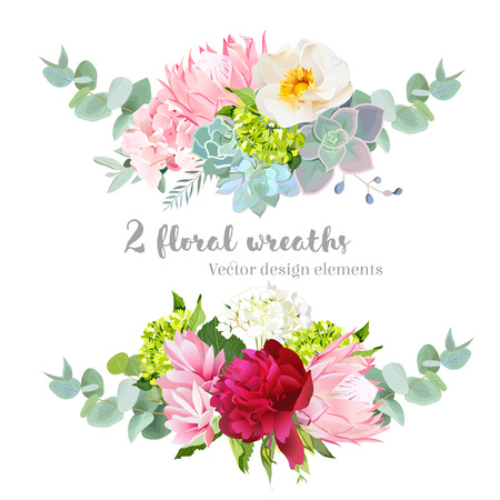 Floral mix wreath design set.