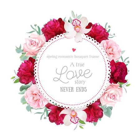 エレガントなブルゴーニュ赤牡丹、蘭、バラ、椿、フレーム ラウンド ユーカリの葉します。