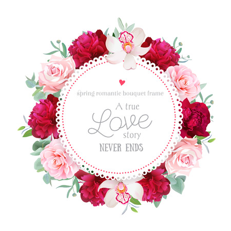 Elegant burgundy red peonies, orchid, rose, camellia, eucalyptus leaves round frame.