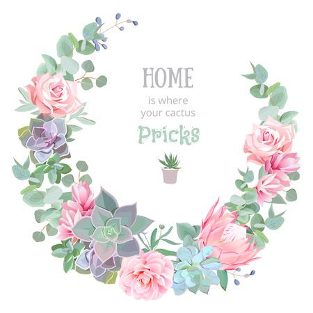 Stylish floral design round frame. Rose, camellia, pink flowers, echeveria, protea, eucaliptus leaves.