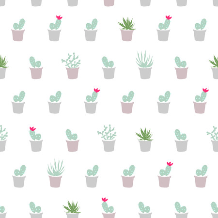 plantas del desierto: Simple flat seamless pattern with cactus, succulents, desert plants.