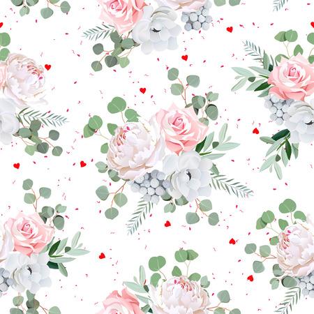 ramos de flores preciosas de rosa peona anmona flores y hojas brunia eucaliptis impresin sin problemas con los corazones rojos y manchas