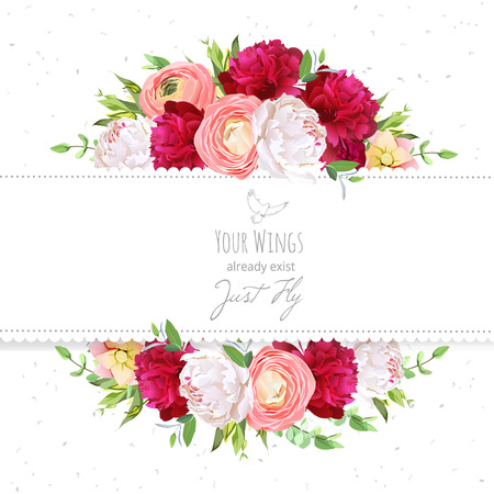 Burgundy red and white peonies, pink ranunculus, rose design frame. Natural card with dotted backdrop.