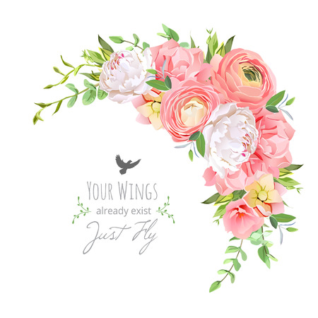 Delicate bloemen frame met heldere ranonkel, pioen, roos, anjer, groene planten op wit.