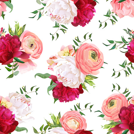 Burgundy red and white peonies, ranunculus, rose seamless pattern. Romantic elegant print with luxury bright flowers.