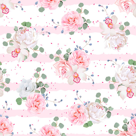 Wedding bouquets of rose, peony, camellia, orchid, anemone, camellia, blue berries and eucaliptis leaves. Seamless  print with pink stripes and dots.