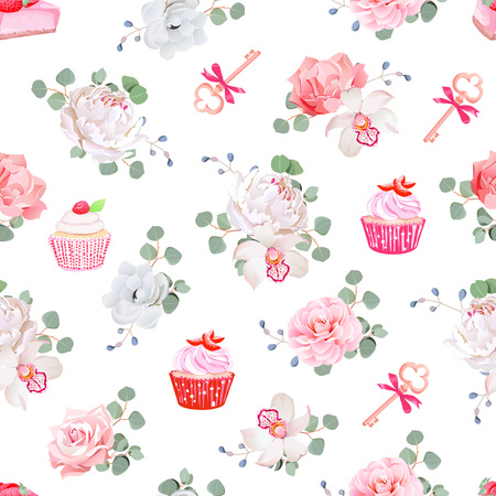 cheesecake: Tasty pastries, bouquets of flowers, keys with red bows on white seamless  print. Peony, orchid, rose, camellia, cupcakes, strawberry cheesecake.
