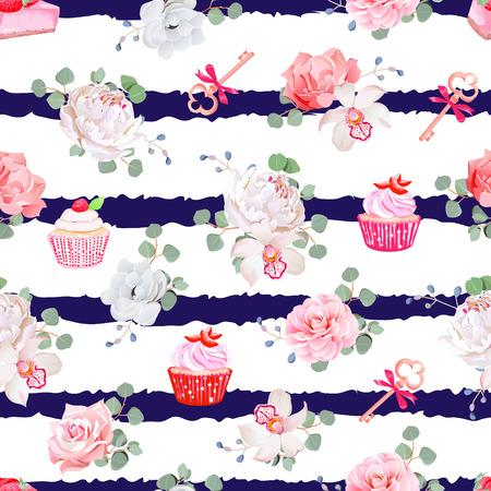 cheesecake: Navy striped seamless  pattern with fresh pastries, bouquets of flowers and keys with red bows. Peony, orchid, rose, camellia, cupcakes, strawberry cheesecake. Illustration
