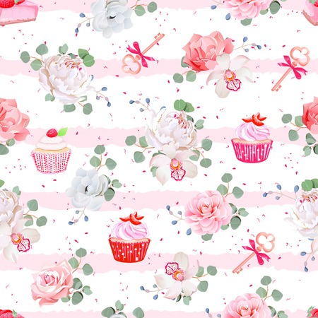 cheesecake: Pink striped seamless  pattern with fresh pastries, bouquets of flowers and keys with red bows. Peony, orchid, rose, camellia, cupcakes, strawberry cheesecake. Speckled backdrop. Illustration