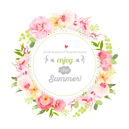Summer orchid, camellia, rose, ranunculus, carnation and fresh green leaves round  frame. Save the date wedding template. Design set. All elements are isolated and editable. 矢量图像