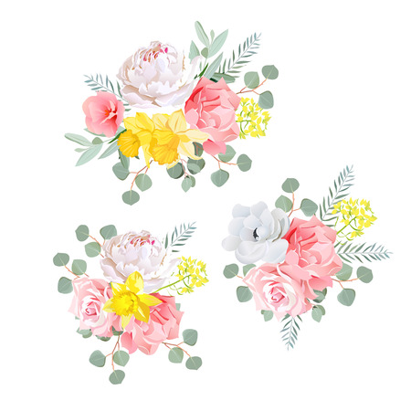 Bouquets of dahlia, rose, narcissus, anemone, pink flowers and eucalyptus leaves. All elements are isolated and editable.
