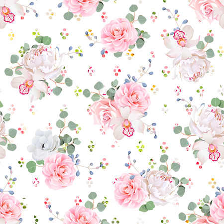 Romantic bouquets of rose, peony, camellia, orchid, anemone, camellia, blue berries and eucaliptis leaves. Seamless  print with rainbow confetti.