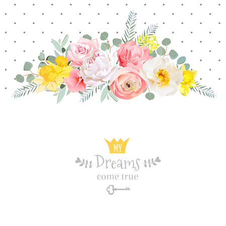 Rose, narcissus, pink flowers, ranunculus and decorative eucaliptus leaves design card. Polka dots backdrop. All elements are isolated and editable.