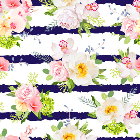 wild rose: Navy striped print with bouquets of wild rose, peony, orchid, bright garden flowers and leaves. Seamless pattern. Illustration