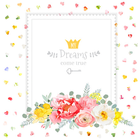 Square  design frame with bouquet of wild rose, ranunculus, daffodil, narcissus, carnation and eucaliptus leaves. Multicolor hearts confetti backdrop. All elements are isolated and editable.