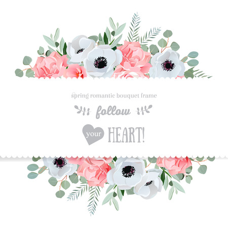 Anemone, rose, pink flowers and decorative eucaliptus leaves  mirrored design card. All elements are isolated and editable. Illustration