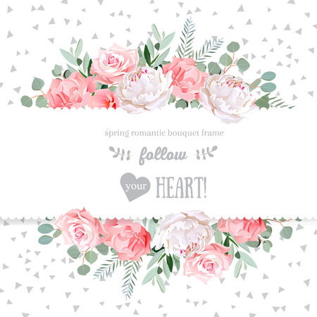Rose, carnation, peony, pink flowers and decorative eucaliptus leaves  mirrored design card. Speckled triangle confetti backdrop. All elements are isolated and editable.