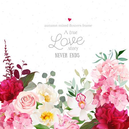 Bordeaux rode pioenen, roze rozen, hortensia, orchidee vector ontwerp kaartje. Botanische stijl frame met herfst gemengde bloemen op wit. Elegante bloemen achtergrond.