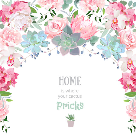 Semicircle garland frame with succulents, protea, rose, peony, orchid, echeveria, hydrangea, green plants. Cute wedding floral vector design.