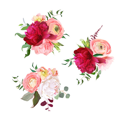 Gift bouquets of rose, peony, ranunculus, carnation and eucalyptus leaves. Romantic surprise vector design set. All elements are isolated and editable.  イラスト・ベクター素材