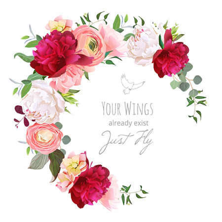 Luxus florale Vektor runder Rahmen mit Ranunkeln, Pfingstrose, Rose, Nelke, Grünpflanzen auf weiß. Rosa, bordeauxrot und weißen Blüten. Halbmondform Bouquet. Alle Elemente sind isoliert und bearbeitet werden.
