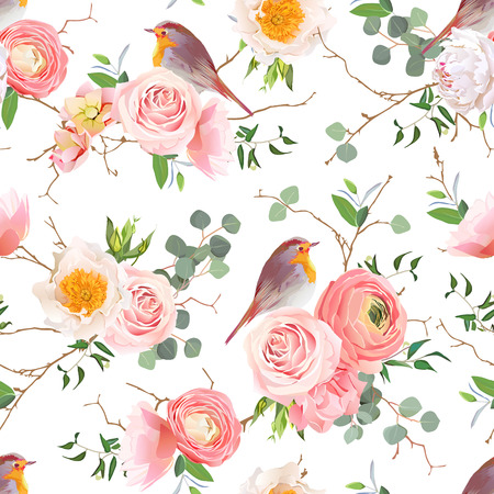 peachy: Natural seamless pattern with cute robin birds and bouquets of peachy roses and ranunculus in japanese style