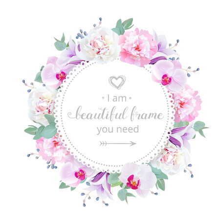 Beautiful wedding floral design frame. Pink and white peony, purple orchid, violet campanula flowers. Colorful botany objects. All elements are isolated and editable. Vetores