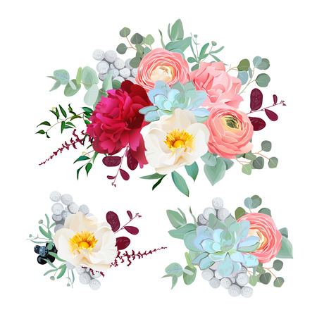 Seasonal mixed bouquets of peony, ranunculus, succulents, wild rose, carnation, brunia, blackberries and eucaliptus leaves vector design set. All elements are isolated and editable.