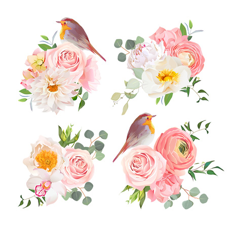 Spring colorful bouquets and cute robin birds vector design objects. Peachy roses, dahlia, carnation, orchid and ranunculus flowers in japanese style. All elements are isolated and editable.