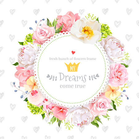 Peony, wild rose, orchid, carnation, camellia, hydrangea, blue berries and green leaves vector design round card. Simple backdrop with hand drawn hearts. All elements are isolated and editable.