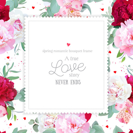 pink vintage: Romantic floral square design frame with peony, alstroemeria lily, mint eucaliptus on white. Pink, white and burgundy red flowers. Dotted background with small hearts