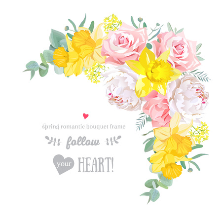 Happy bright floral frame with peony, rose, narcissus, carnation, eucaliptus on white. Pink, yellow and white flowers. Crescent shape bouquet. 矢量图像