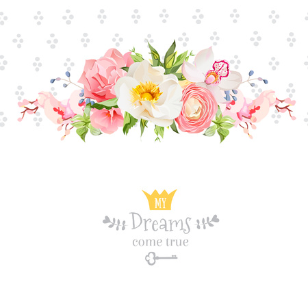 wild rose: Peony, wild rose,  orchid, carnation, ranunculus, hydrangea, blue berries and green leaves design card. Speckled round confetti backdrop. All elements are isolated and editable.