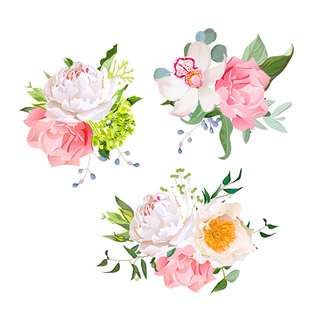 wild rose: Stylish mix of flower bouquets design set. Green hydrangea, wild rose, orchid, peony, carnation, eucaliptus leaf, wildflowers. All elements are isolated and editable. Illustration