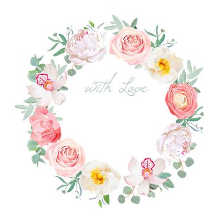 peonia Primavera, Rosa, ranuncoli, orchidea, garofano, foglie di eucalipto cornice design rotondo. Tutti gli elementi sono isolati e modificabili.