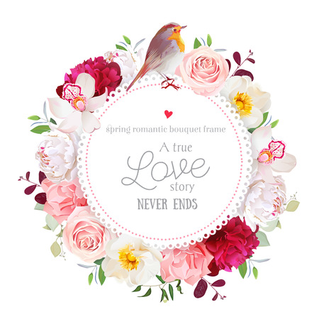 Elegant floral round card with white and burgundy red peony, rose, orchid, carnation flowers, mixed leaves and plants and cute small robin bird. All elements are isolated and editable.