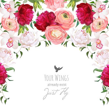 Halbkreis Girlande Rahmen angeordnet von weinrot roten und weißen Pfingstrose, pfirsichfarbenen Ranunculus, Rose, Orchidee. Nettes Hochzeitsblumenmuster. Vektorgrafik